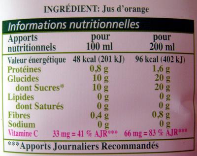 20 grammes de sucre pour 200 ml ... un sacré rayon de soleil !!!
